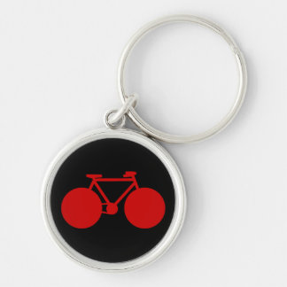 bicycle . black red biker key keychain