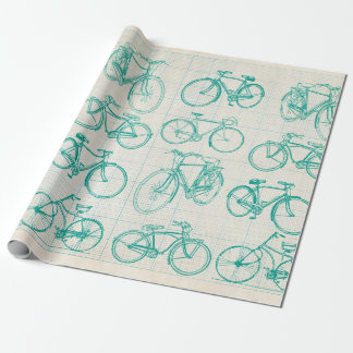 Bicycle blueprint design wrapping paper