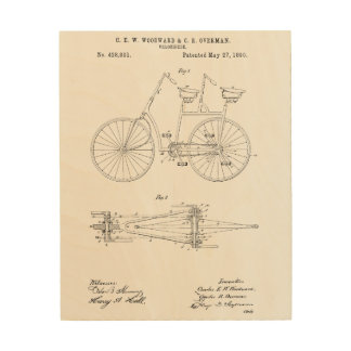 Bicycle Blueprint Wood Print