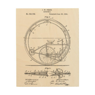 Bicycle Blueprint Wood Wall Decor