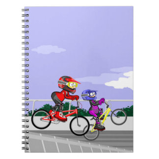 Bicycle BMX two competitors in action Spiral Notebook