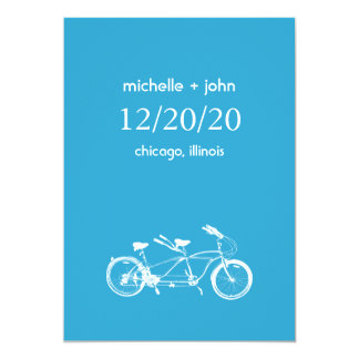 Bicycle Built For Two Save The Date (Blue) Card