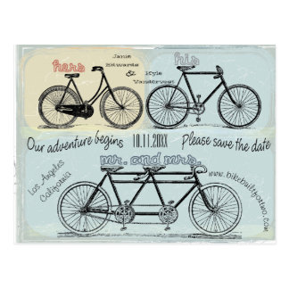 Bicycle Built For Two Save The Date Postcard