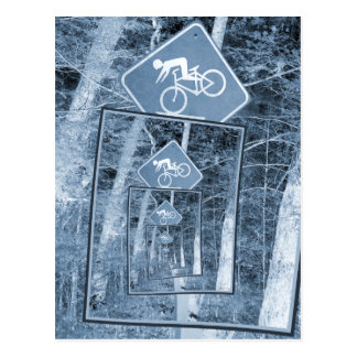 Bicycle Caution Traffic Sign Postcard