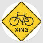 Bicycle Crossing Highway Sign Classic Round Sticker