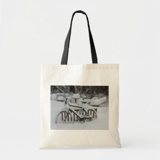Bicycle Cycle Bicycling Cycling Waiting For Spring Budget Tote Bag
