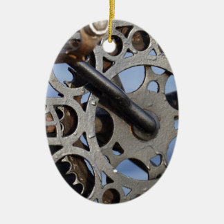 Bicycle detail ceramic oval ornament