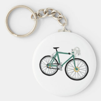 Bicycle drawing basic round button keychain
