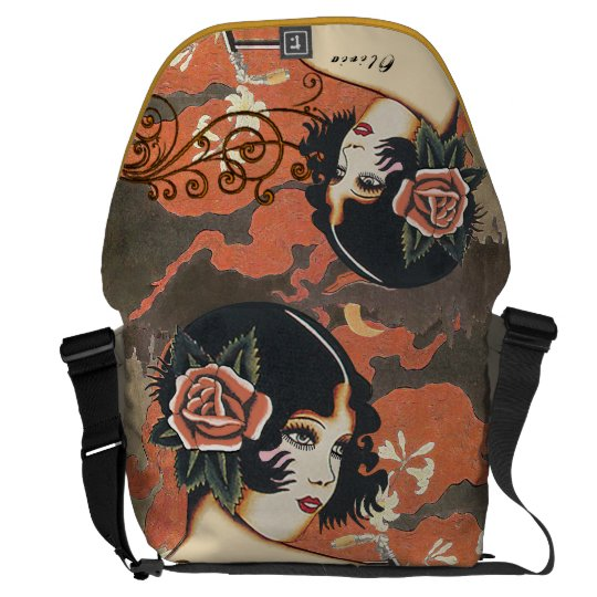 Bicycle Fall Colours Earth Tones Vintage Girl Courier Bags