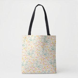Bicycle Flowers Watercolor Pattern Tote Bag