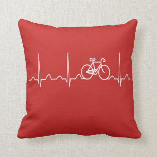 BICYCLE HEARTBEAT THROW PILLOW