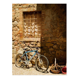 Bicycle in front of a wall, Monteriggioni, Siena Postcard