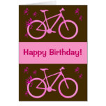 Bicycle in pink happy birthday card. greeting card