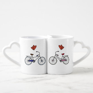 Bicycle Lovers Nesting Heart Mugs