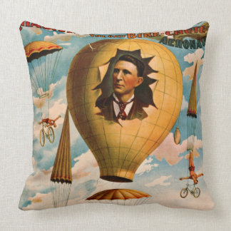 Bicycle Parachute Act 1896 Throw Pillow