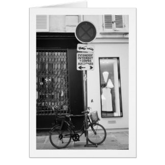 Bicycle parked in street, Paris, France Card