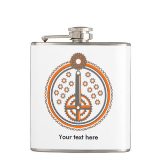 Bicycle Parts Collage Illustration Flask