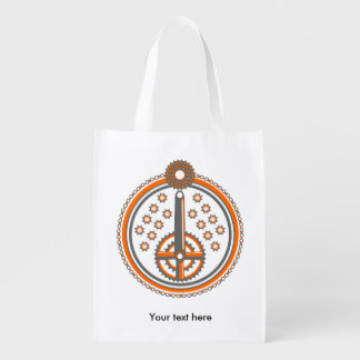 Bicycle Parts Illustration Reusable Grocery Bags