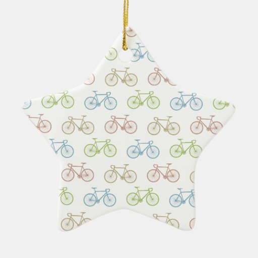 Bicycle Pastel Hipster Pattern Christmas Tree Ornaments