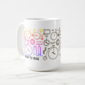 Bicycle Print and Cycling Icons Coffee Mug