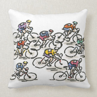 Bicycle Race Throw Pillow