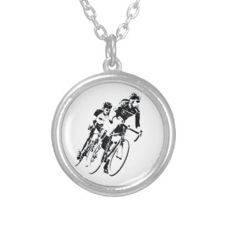 Bicycle Racers into the Turn Silver Plated Necklace