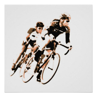 Bicycle Racers -Shadow Sepia Tones -2 Poster