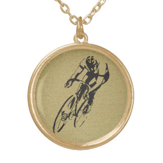 Bicycle Racing Round Pendant Necklace