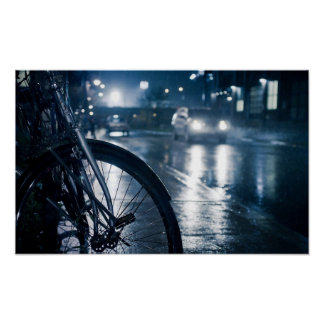 bicycle rainy street wall print poster