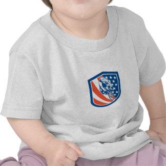 Bicycle Rider USA Flag Shield Retro T-shirts