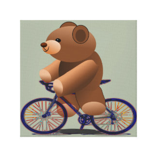 Bicycle Riding Teddy Bear Canvas Prints