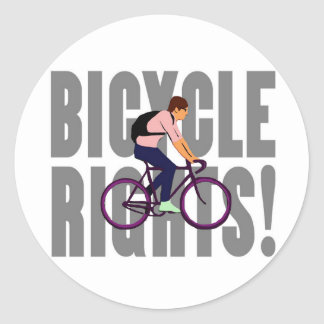 Bicycle Rights in Gray Round Sticker