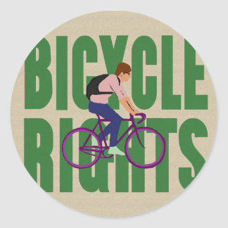 Bicycle Rights in Green Round Sticker