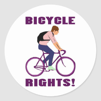 Bicycle Rights in Purple Round Sticker
