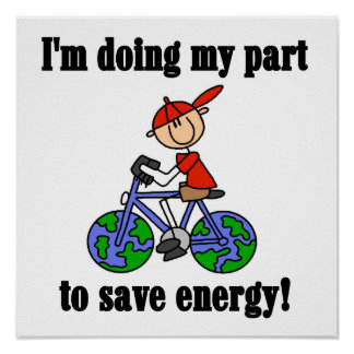 Bicycle Save Energy T-shirts and Gifts Posters