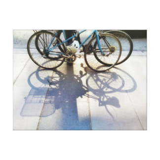 Bicycle Shadows on Sidewalk City Street Photograph Canvas Print