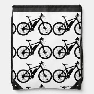 Bicycle Silhouette Drawstring Bags