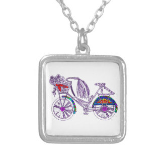 Bicycle Silver Plated Necklace