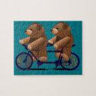 Bicycle Tandem Teddy Bear Print Jigsaw Puzzle