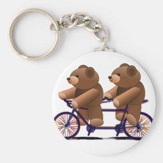 Bicycle Tandem, Teddy Bear Print Keychain