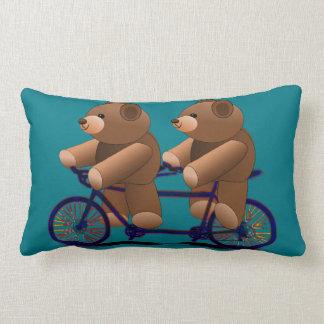 Bicycle Tandem Teddy Bear Print Lumbar Pillow
