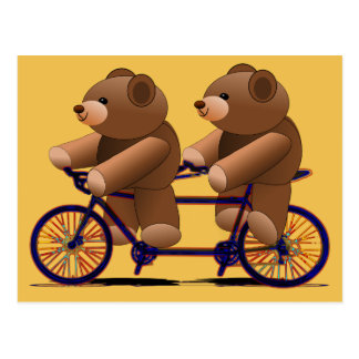 Bicycle Tandem, Teddy Bear Print Postcard