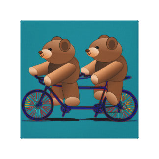 Bicycle Tandem Teddy Bear Print Stretched Canvas Print