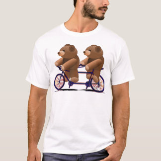 Bicycle Tandem, Teddy Bear Print T-Shirt