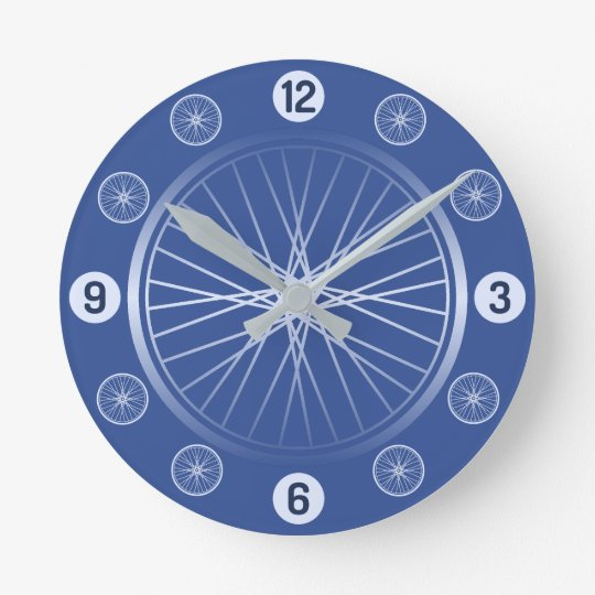Bicycle wheels blue round clock