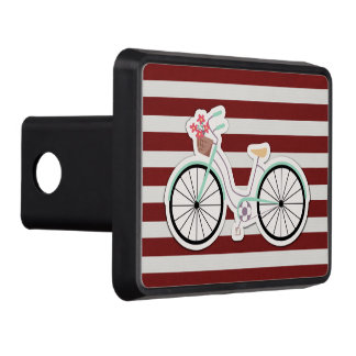 Bicycle with Basket of Flowers Trailer Hitch Cover