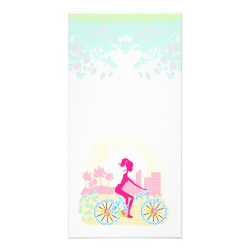 Bicycle with city Photo Card