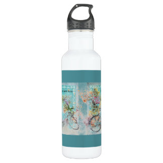 Bicycle with flower baskets on blue burlap 710 ml water bottle