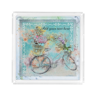 Bicycle with flower baskets on blue burlap acrylic tray