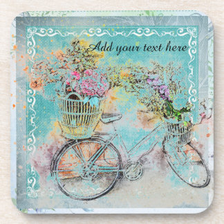 Bicycle with flower baskets on blue burlap coaster